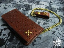 他の写真3: 【Venom Leather】Qee別注 Cross Long Wallet / Brown x Gold Studs