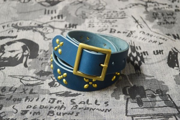 画像1: 【VENOM】QEE別注 CROSS STUDS BELT / BLUE x GOLD