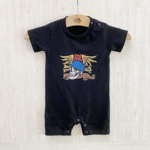 画像1: 【Qee Original】赤ちゃん用 / QEESKULL®完全版 ONEPIECE (ロンパース) / BLACK