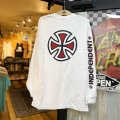 【INDEPENDENT】BAR/CROSS L/S TEE / WHITE