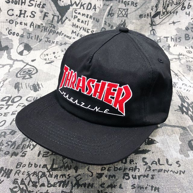 4998049ea0b THRASHER OUTLINED SNAPBACK CAP   BLACK - Qee
